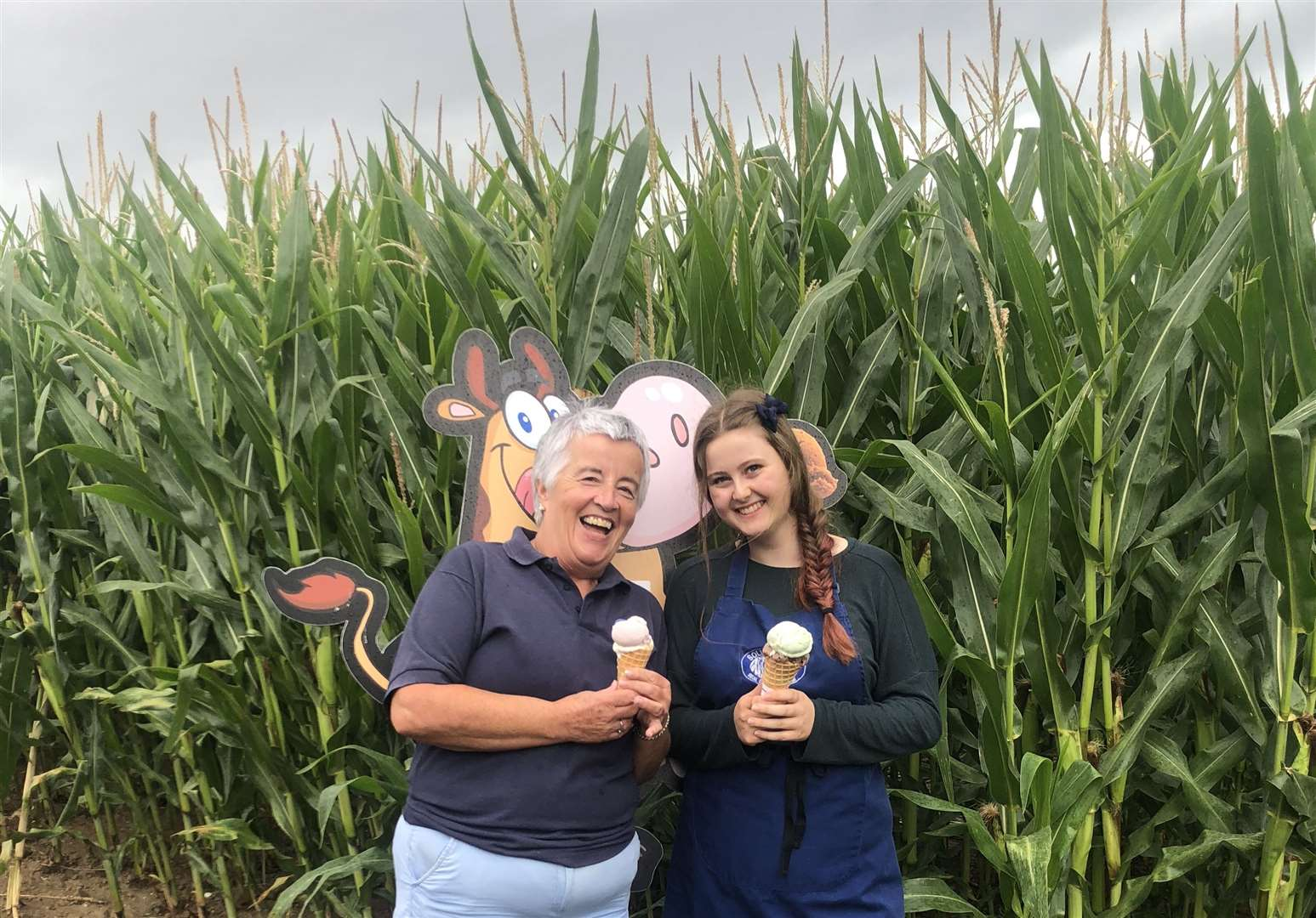 Kathy Wood and Honey Harrop enjoy an ice cream in front of the Maize Maze which will be open during the one-day festival