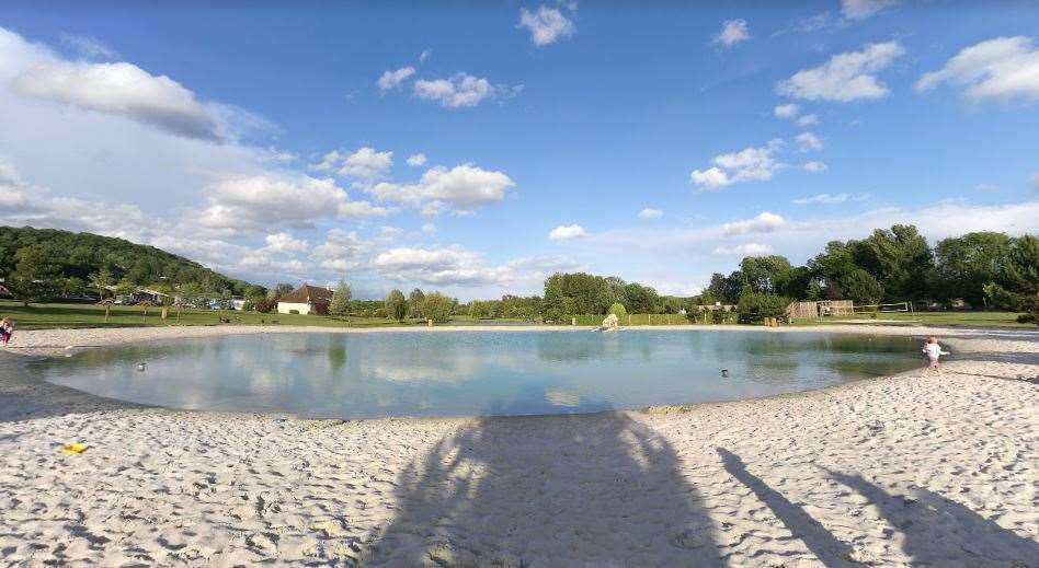 The man-made swimming lake and beach at La Croix du Vieux Pont campsite. Picture: Google