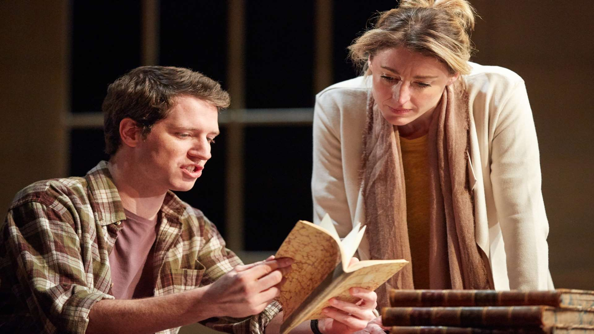 Ed MacArthur as Valentine Coverly and Flora Montgomery as Hannah Jarvis in Arcadia. Picture: Mark Douet