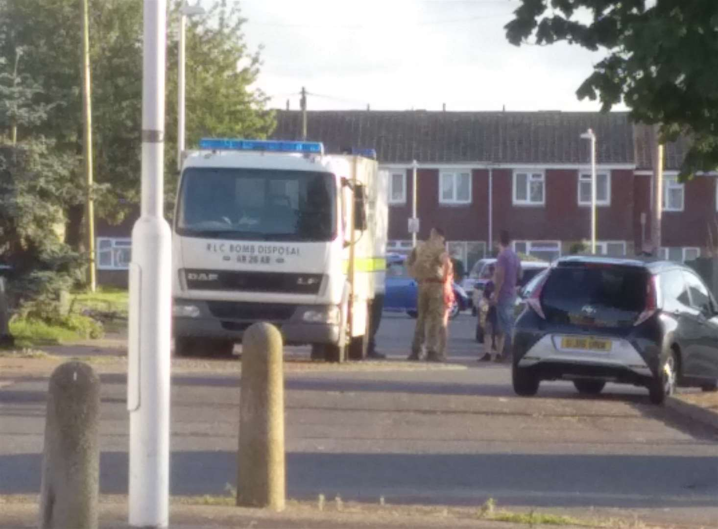 A bomb disposal vehicle outside the William Pitt Avenue property last night Picture: Sarita Claire