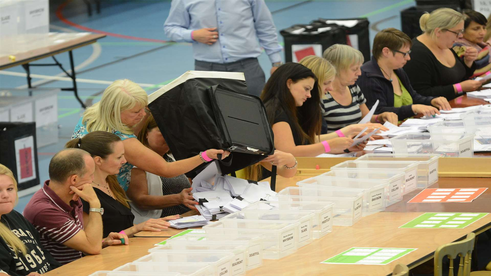 Counters get another pile of ballot papers to count. Picture: Gary Browne/KM Group