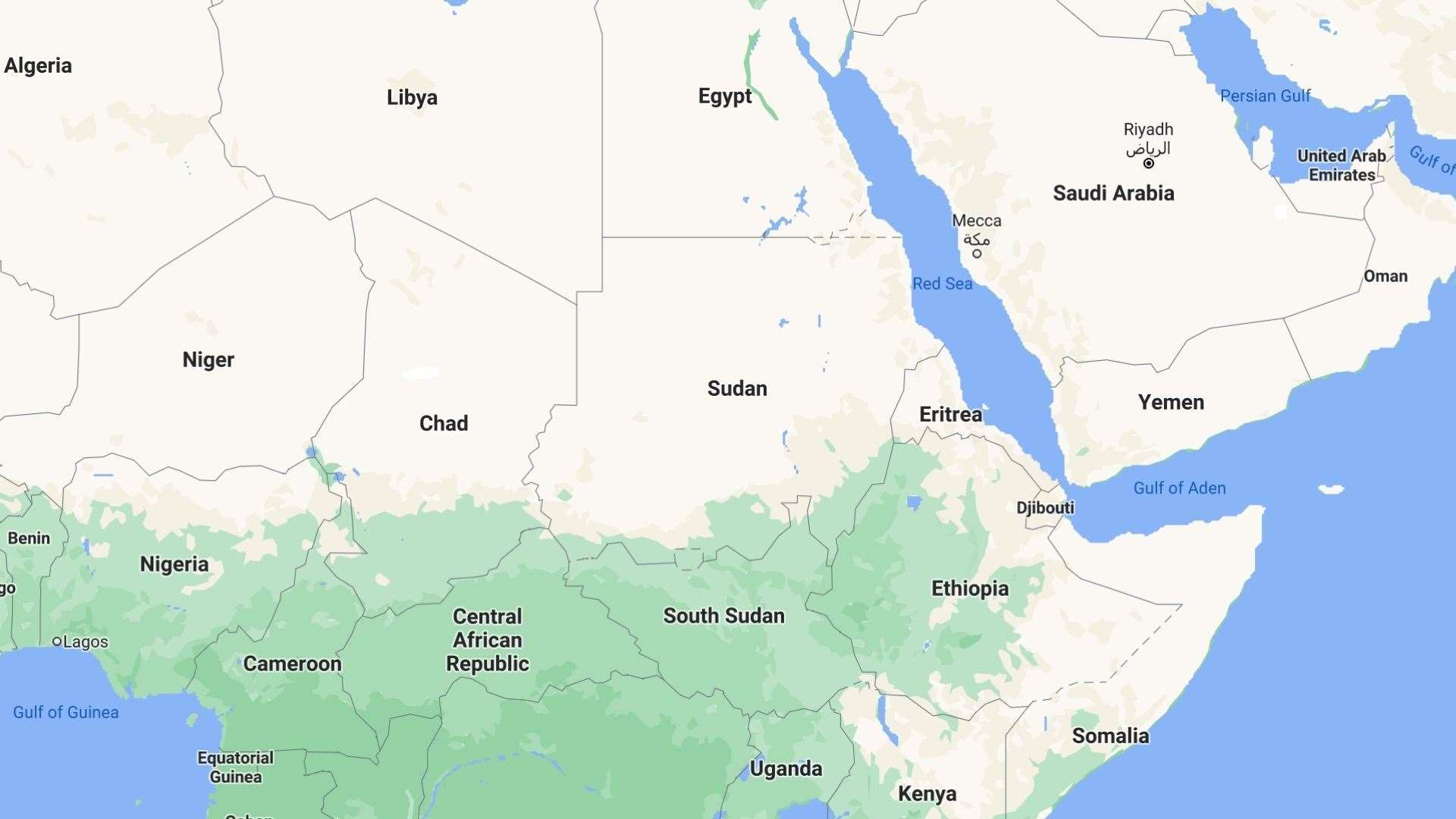 Sudan is in north-east Africa. Picture: Google Maps