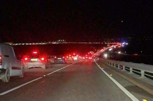 Traffic queuing to get onto Sheppey. Picture: Helen Clifton