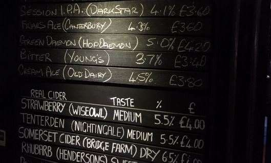 In a dark corner at the back you'll find a full blackboard listing all the beers and ciders