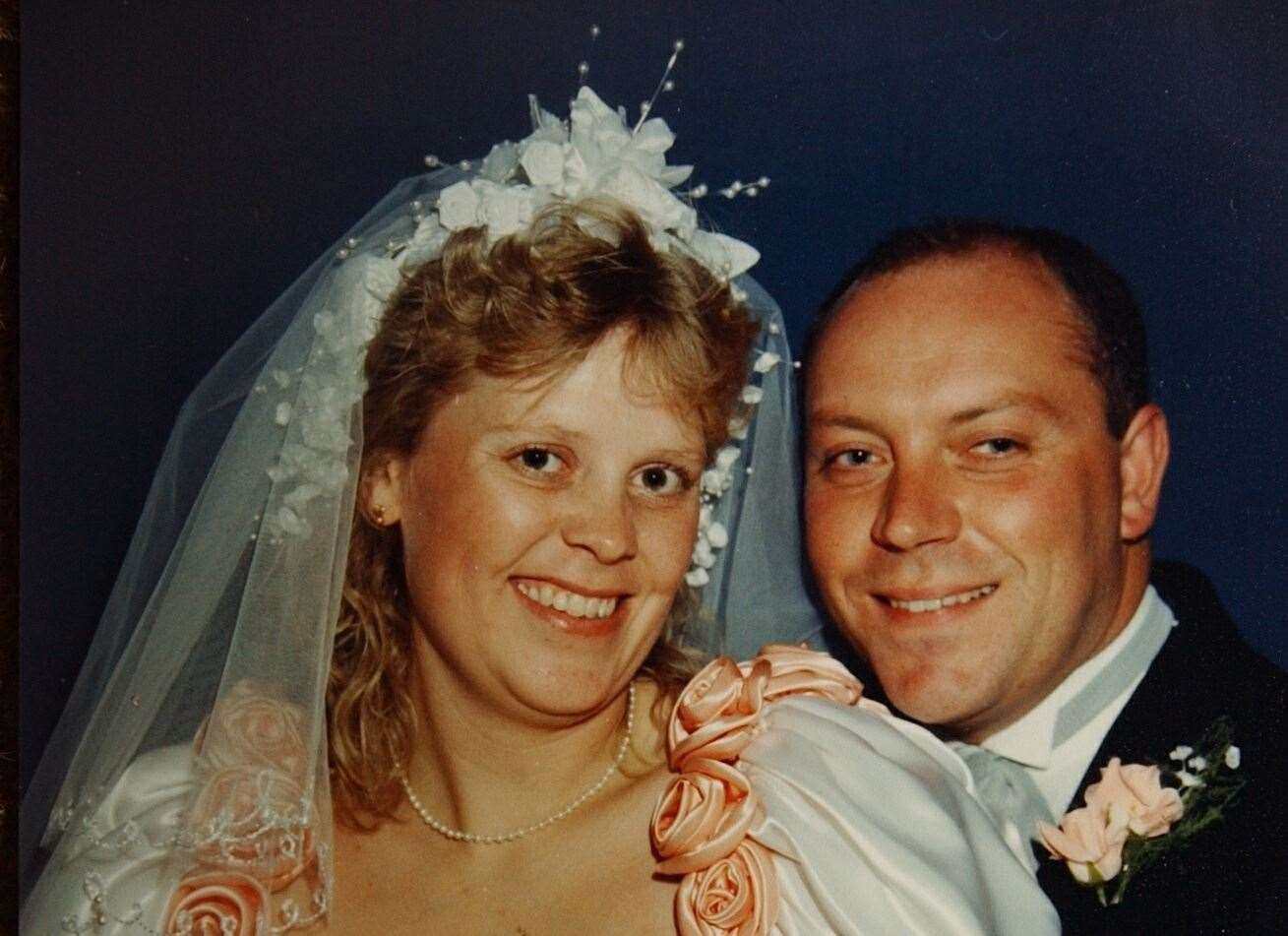Debbie and Andrew Griggs on their wedding day