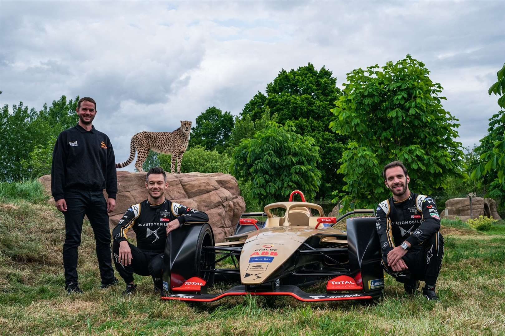 Giles Clark, Andre Lotterer and Jean-Eric Vergne at the Big Cat Sanctuary. Picture: DS TECHEETAH