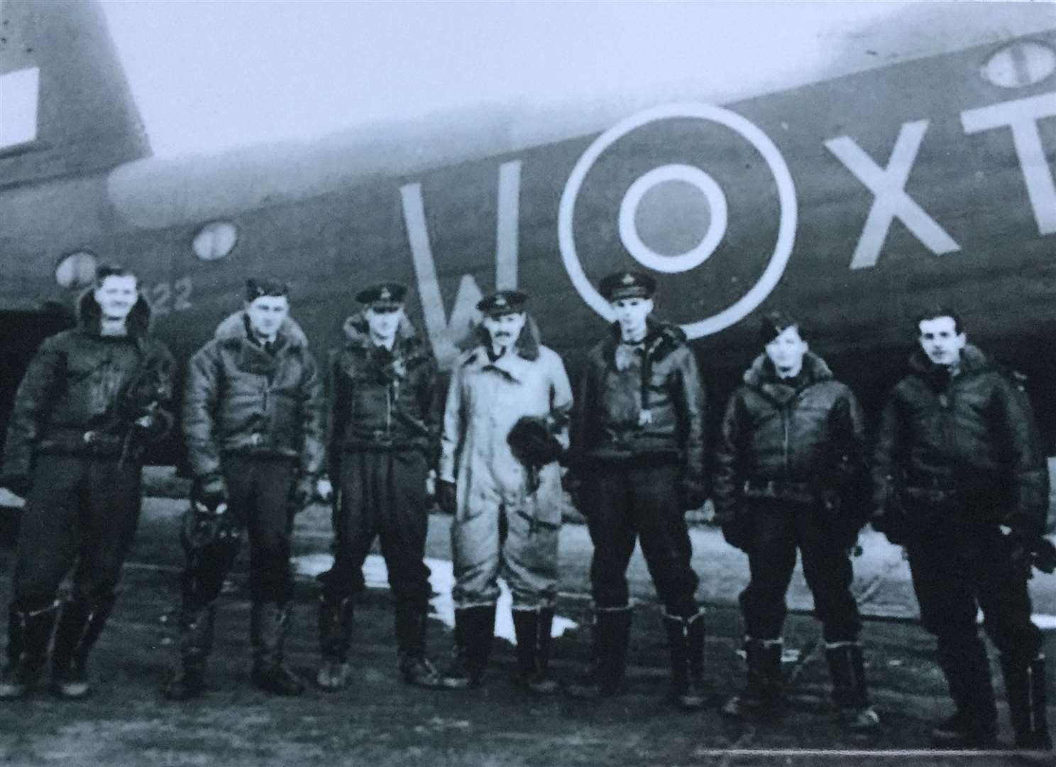 Sgt Leonard Shrubsall, far right of group picture, with the six other crew members of the Short Stirling Bomber which was lost