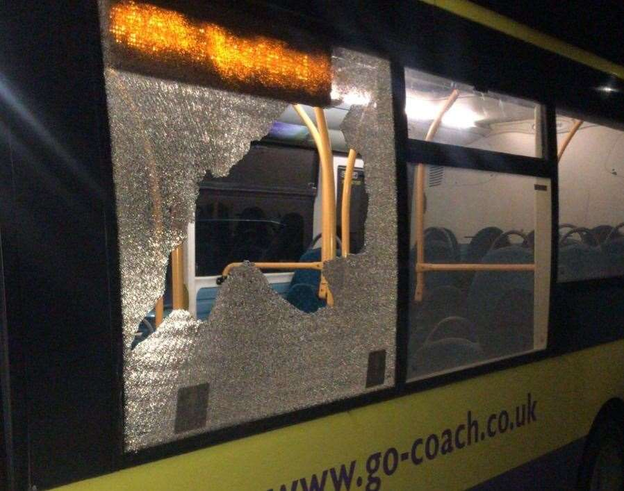 The 429 bus after being attacked with stones