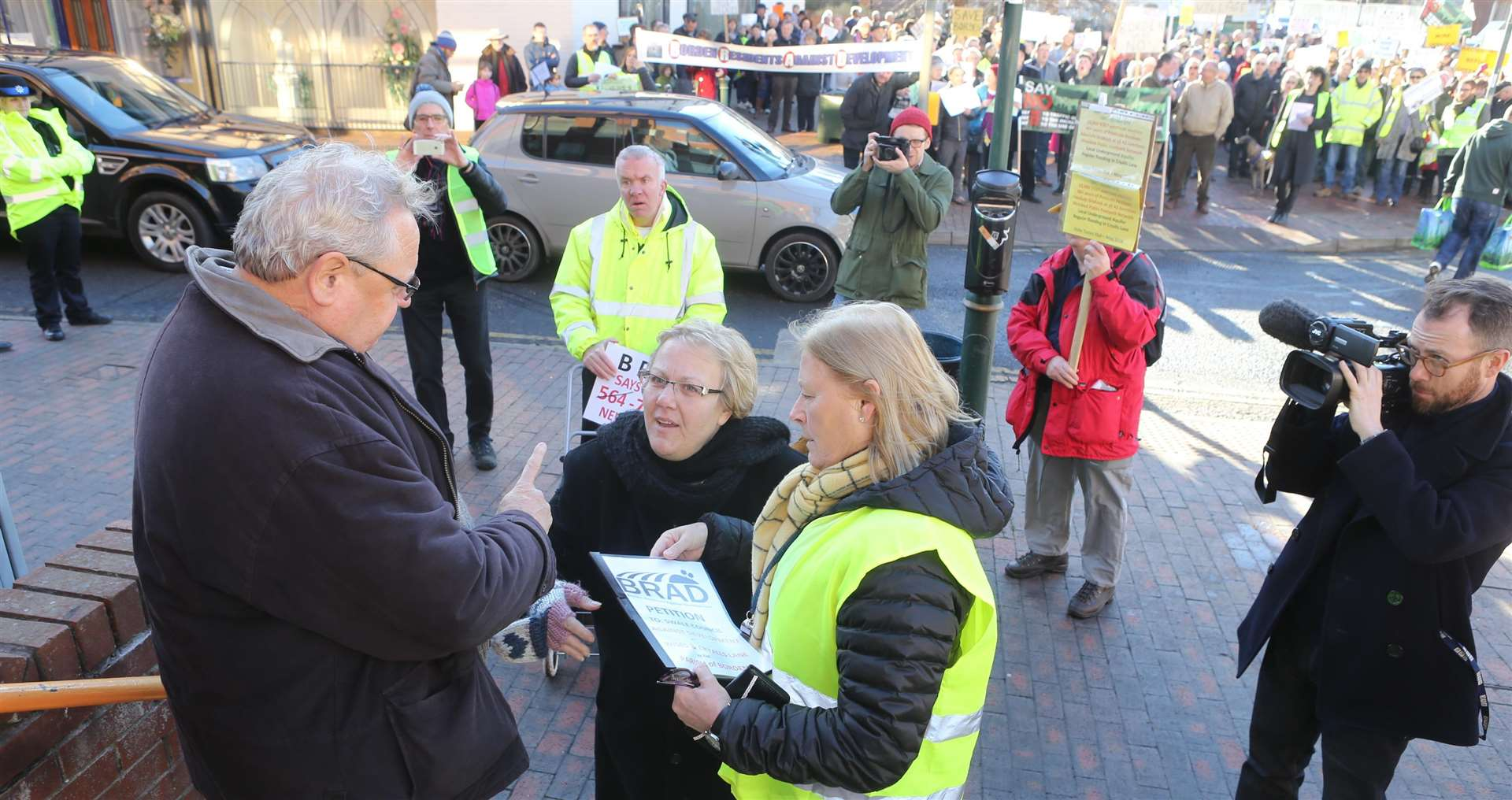 Flashback: Swale council leader Cllr Andrew Bowles receives a petition from protesters, including Nicola Butlin, centre