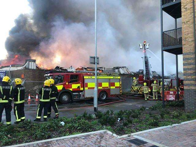 Fire crews at the scene of the United Coffee fire. Picture: Claire Wheeler (4732946)