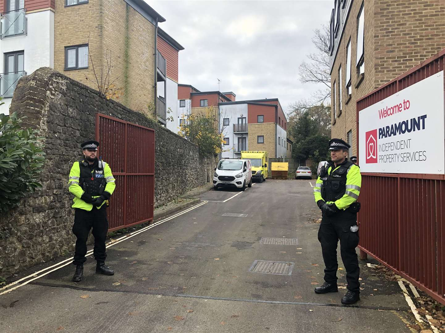 Police stand at the entrance to Chaucer House, Knightrider Street, Maidstone, during a visit from the jury in November