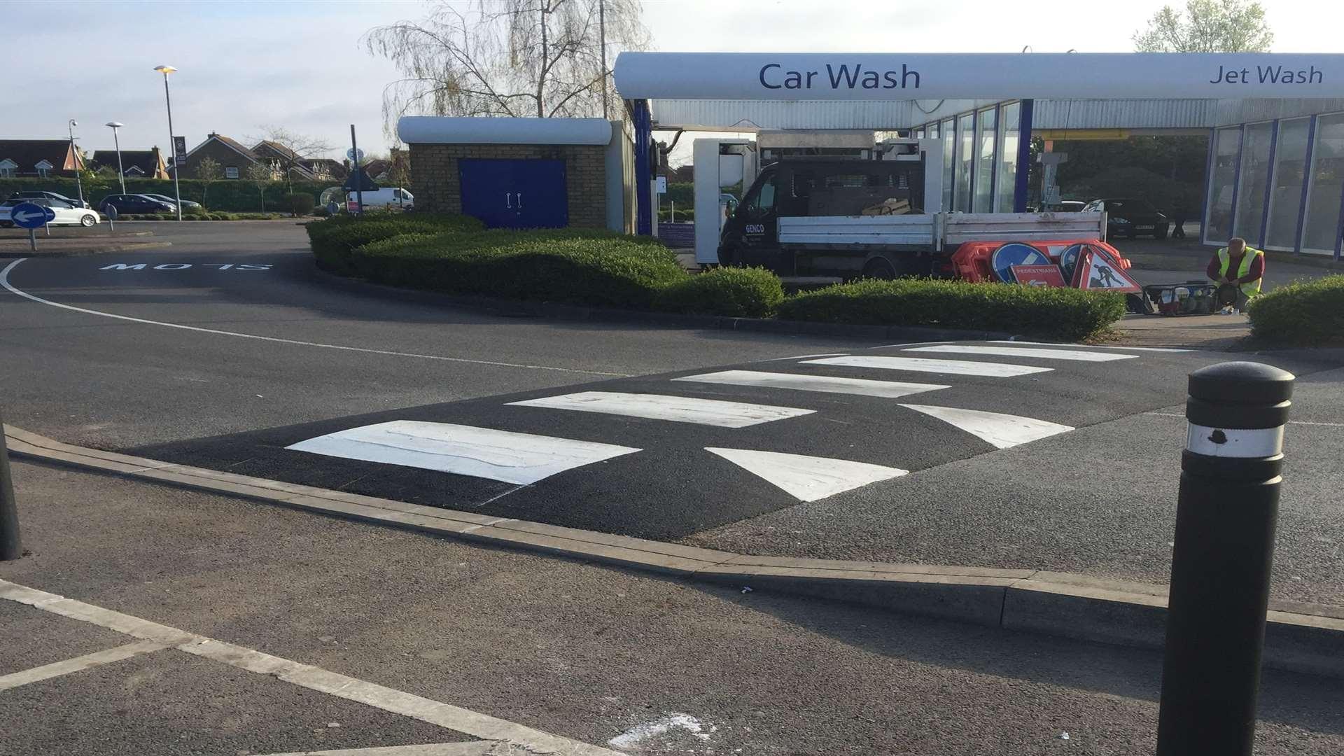 New speed bump installed at Tesco Extra Park Farm, Ashford