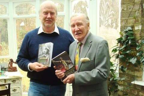 Author John Bartlett with actor Leslie Phillips