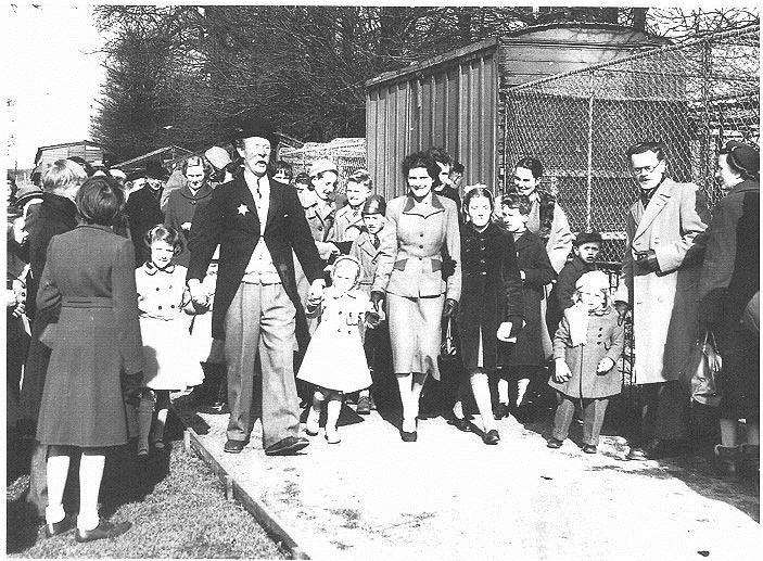 Mr Pastry, aka Richard Hearne, at the season opening of Maidstone Zoo in 1951