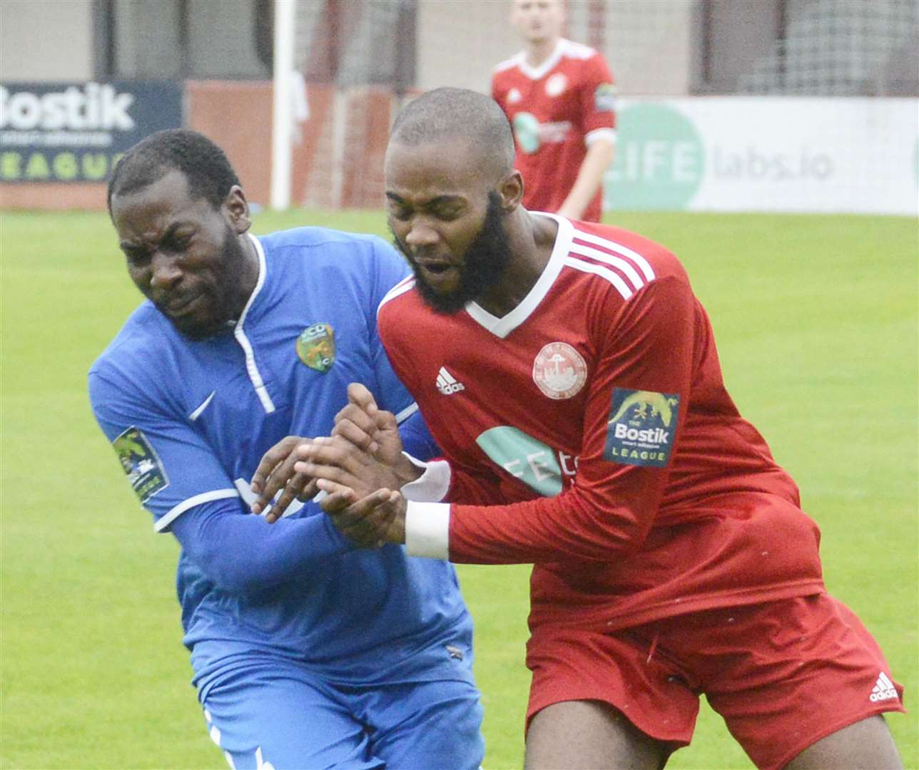 Zak Ansah, right, led Hythe to victory over VCD Picture: Paul Amos