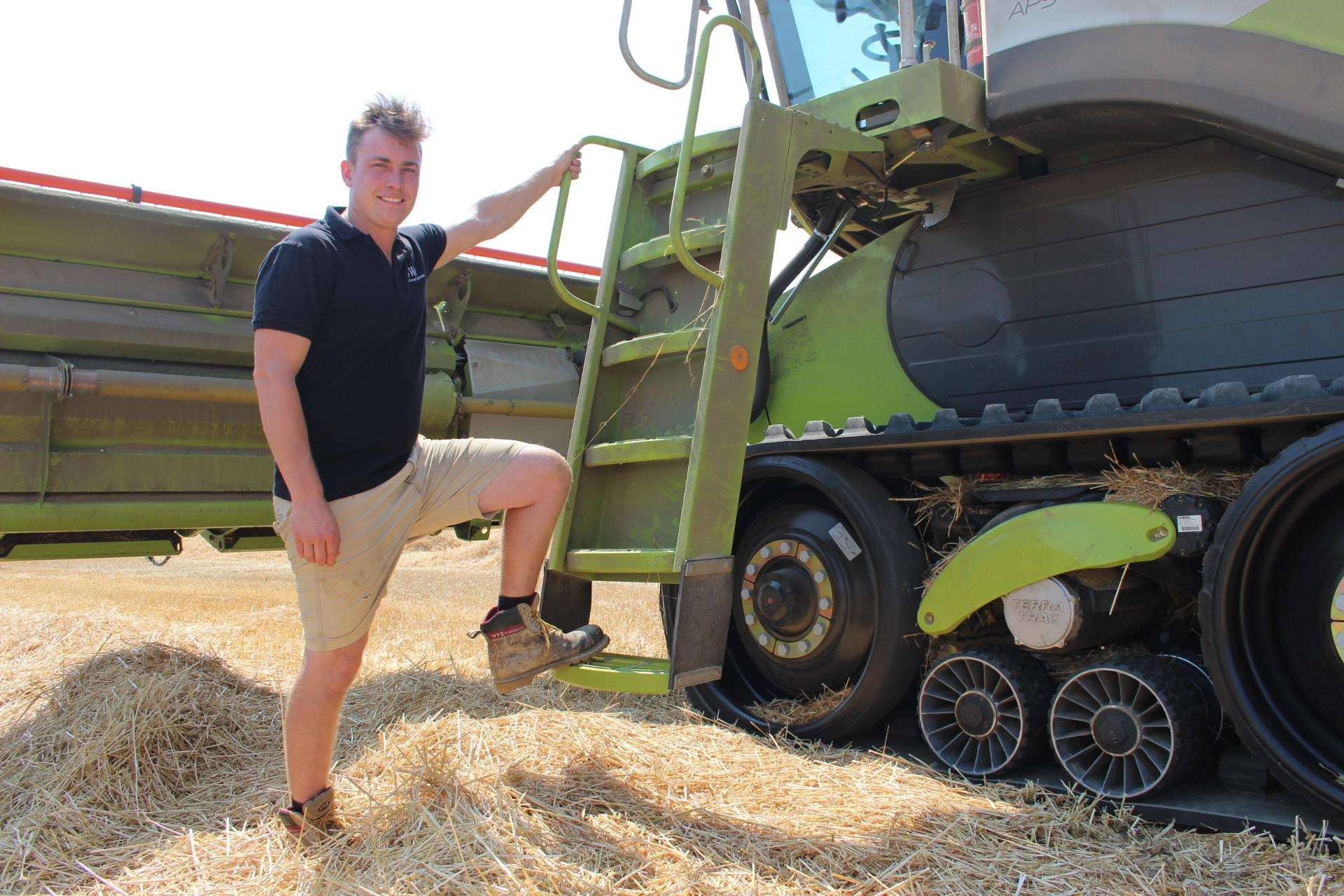 Harvesting time on the Isle of Sheppey with farmer James Attwood of SW Attwood and Partners and his state-of-the-art £400,000 combine harvester (3297691)