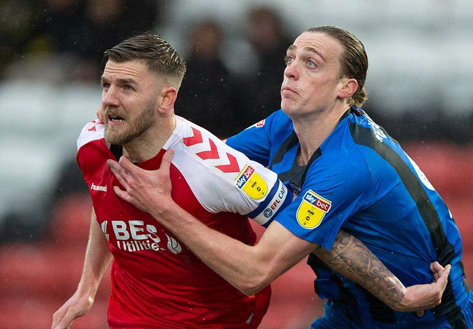 Tom Eaves gets to grips with his opponent at Fleetwood Picture: Ady Kerry