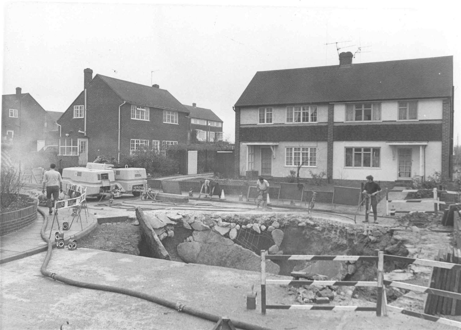 A large hole in the road opened up in Squire Close, Strood in August 1970 - three years after the tragedy in Frindsbury