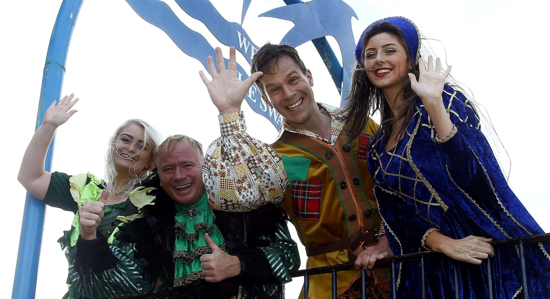 Swallows Leisure Centre, Sittingbourne, stars from Jack and the Beanstalk...Olivia McLaughin, Steven Arnold, Tom Balmont and Katie Burke. ..Picture: Sean Aidan. (6180628)
