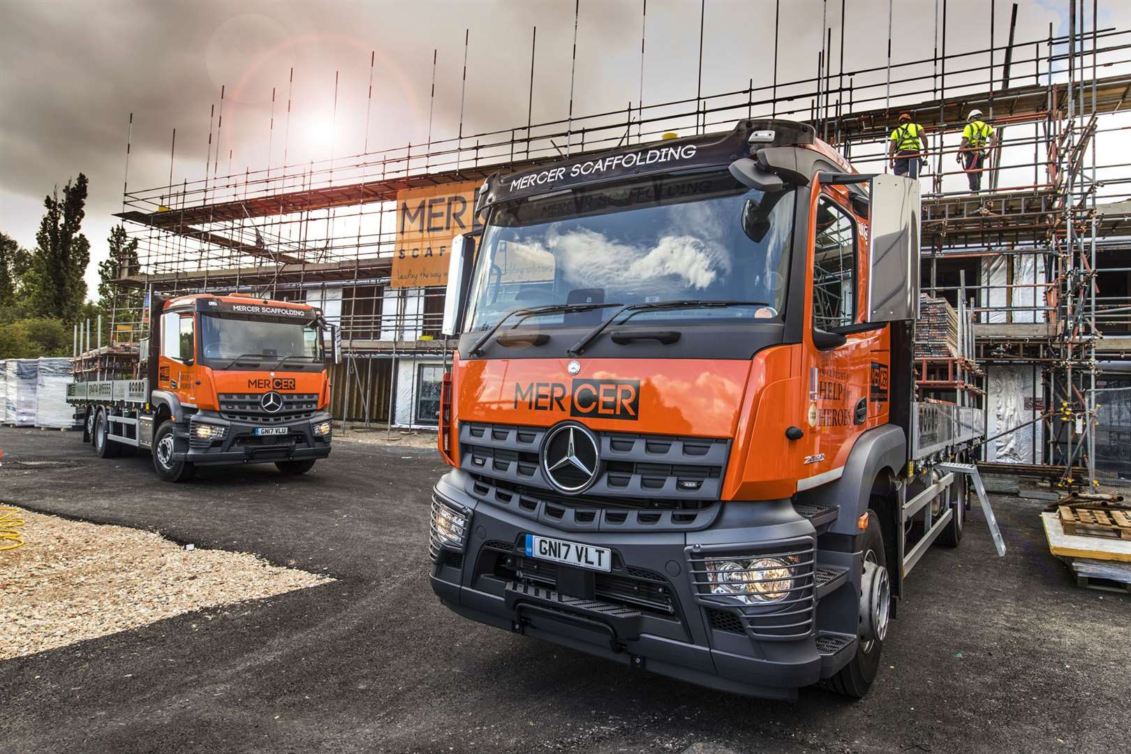 Sparshatts of Kent supplied Longfield-based Mercer Scaffolding with its first three Mercedes-Benz trucks