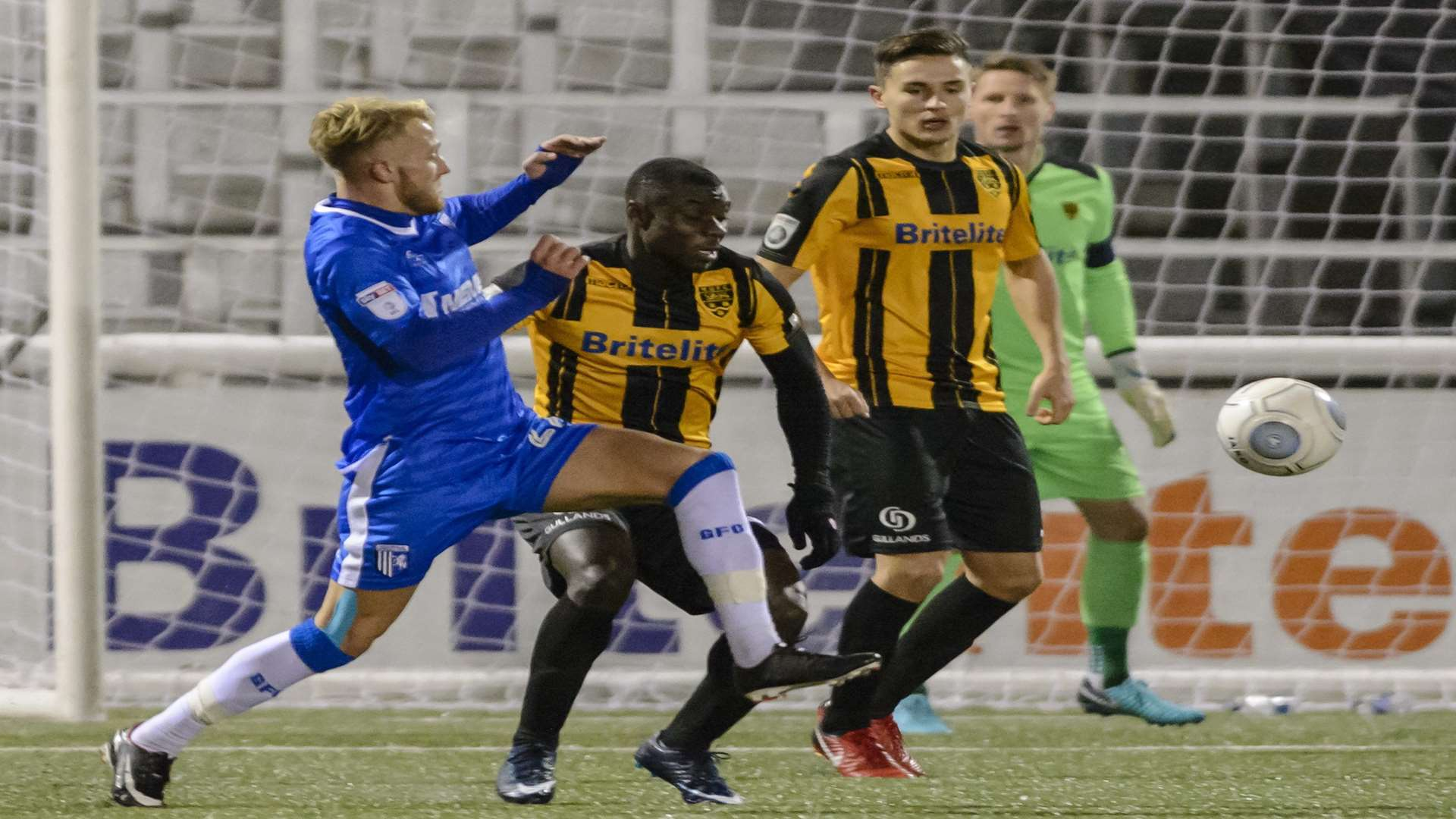 Gillingham striker Liam Nash gets stuck in Picture: Andy Payton