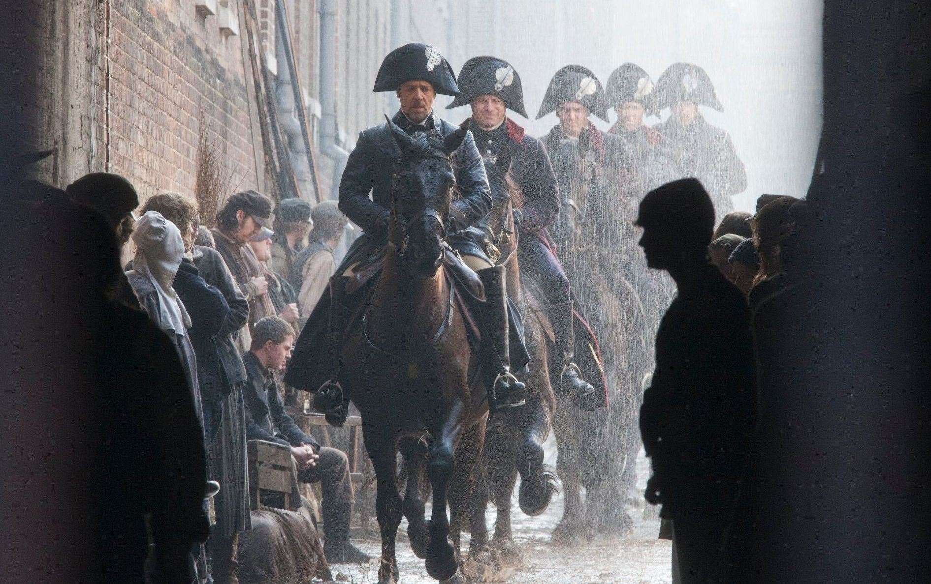 Russell Crowe filming Les Miserables Chatham