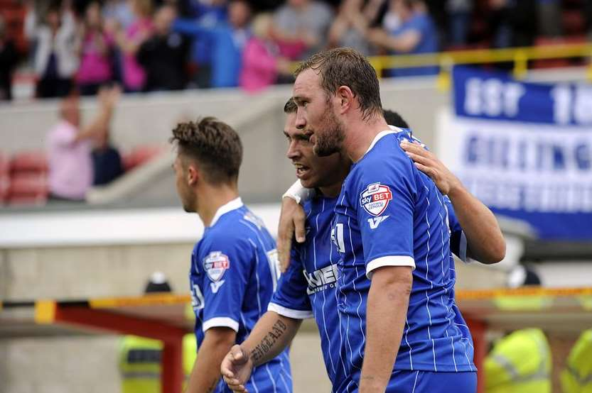 Danny Kedwell celebrates with Cody McDonald after Gills make it 2-2 Pic: Barry Goodwin