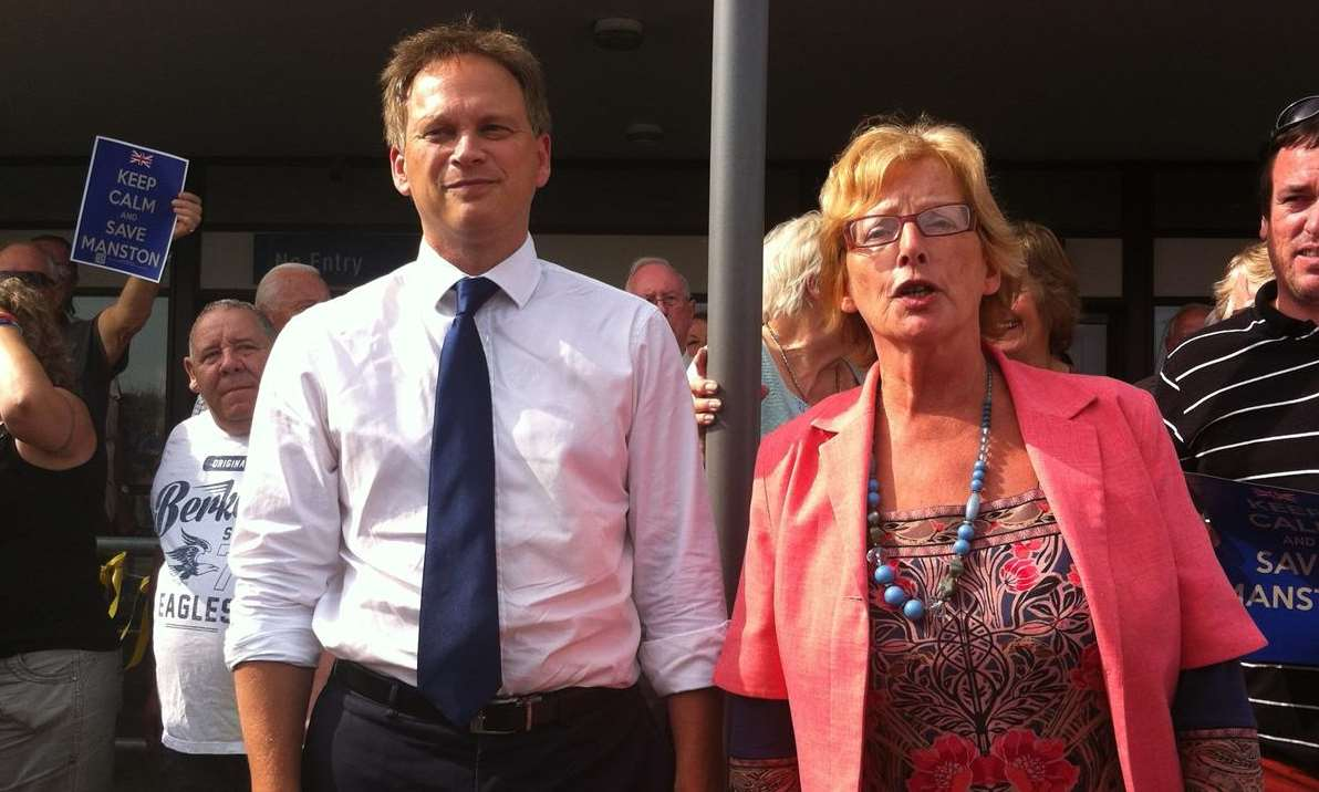 Conservative party chairman Grant Shapps and Thanet District Council leader Iris Johnston at Manston airport
