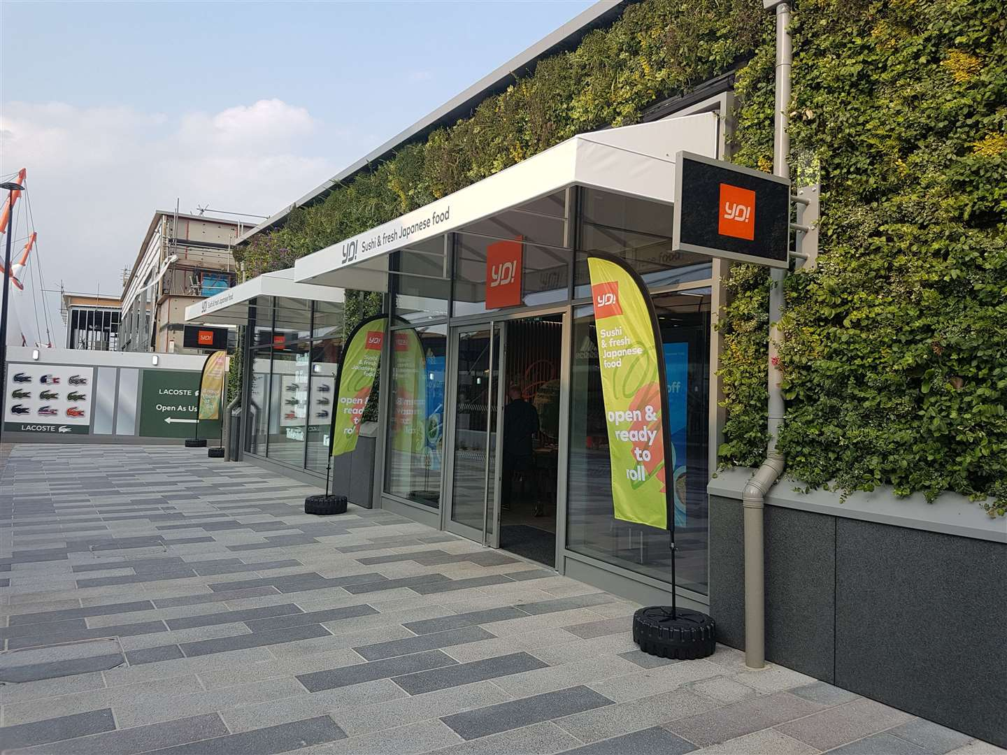 The exterior of the new YO! Sushi branch features part of a living wall which will cover the Ashford Designer Outlet's extension. (10794764)