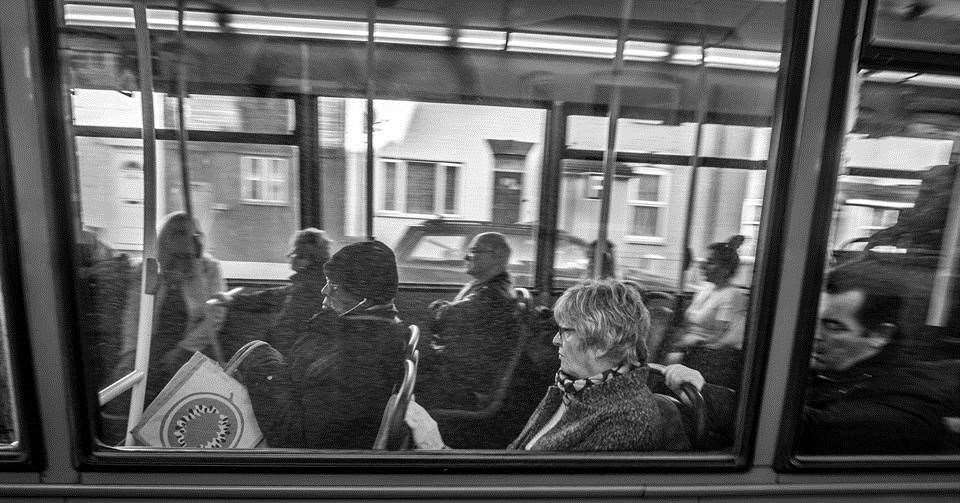 Mick How captures passengers on a bus through going through Luton. Pic: Mick How