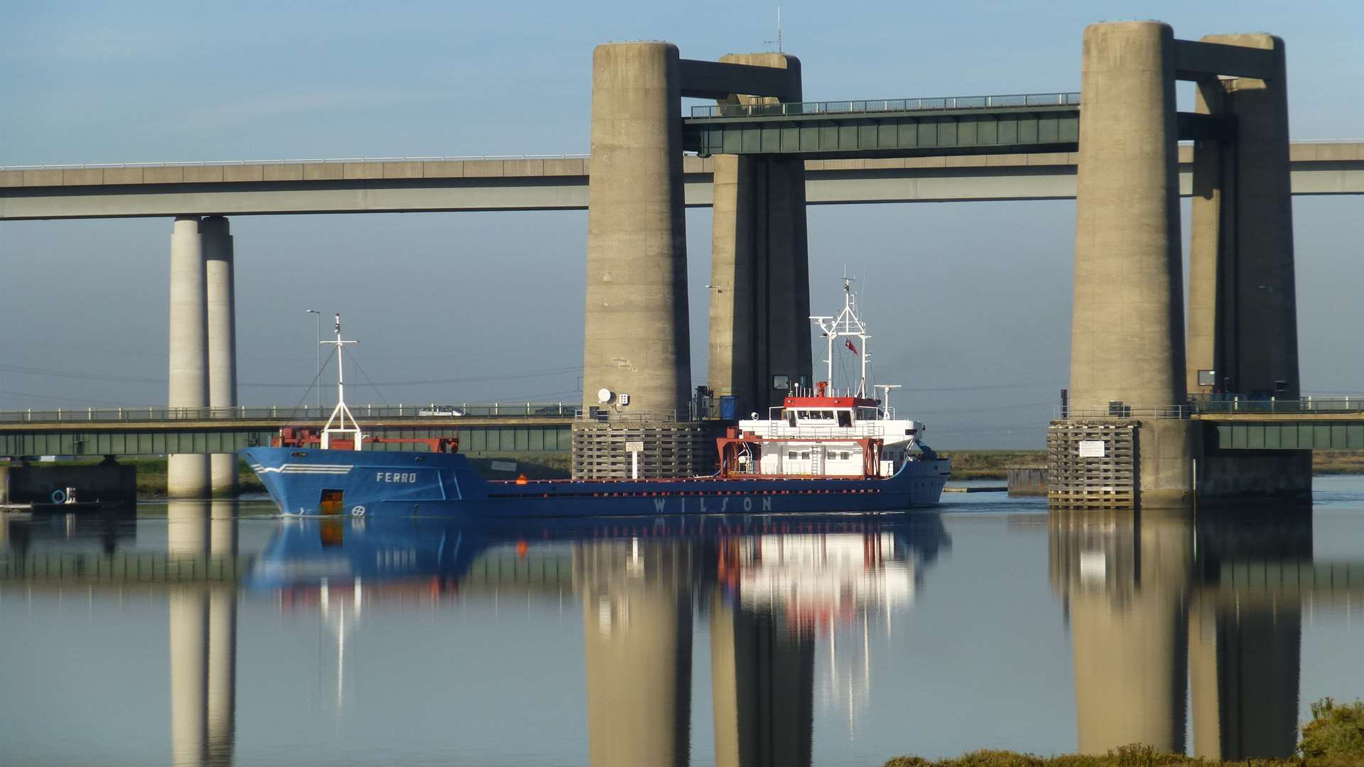 Ship passing under the Kingsferry Bridge