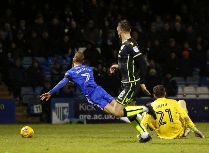 Scott Wagstaff is fouled for Gills' second penalty Picture: Andy Jones