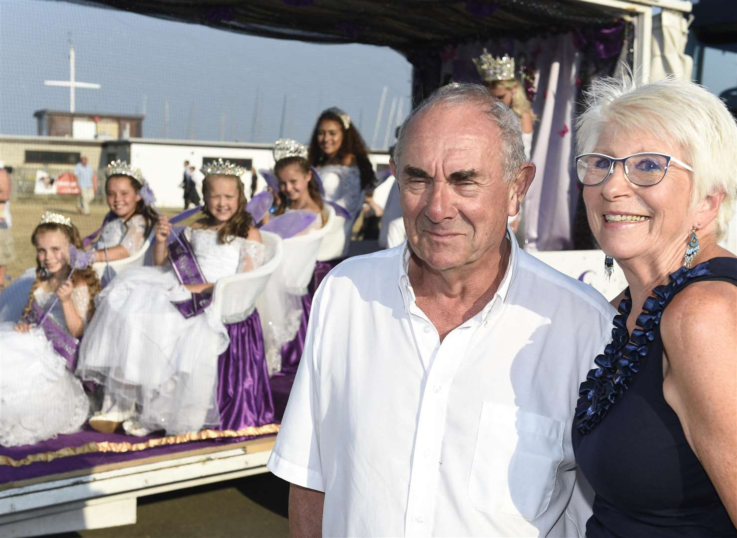 John and Rose Trickey with last year's carnival court representing Deal, Walmer and Kingsdown