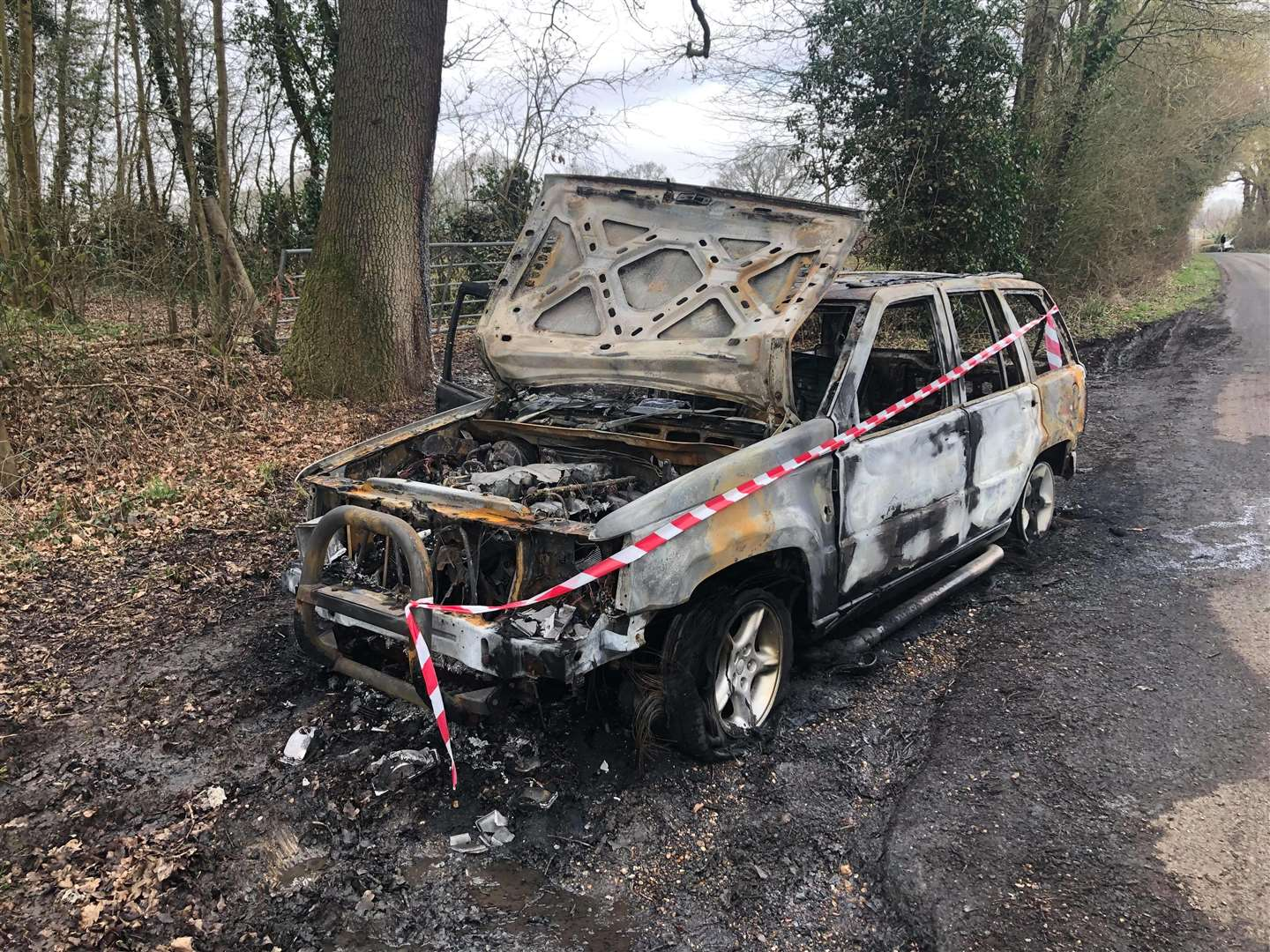 The vehicle used in the ram raid, which was torched soon after in Harbourne Lane