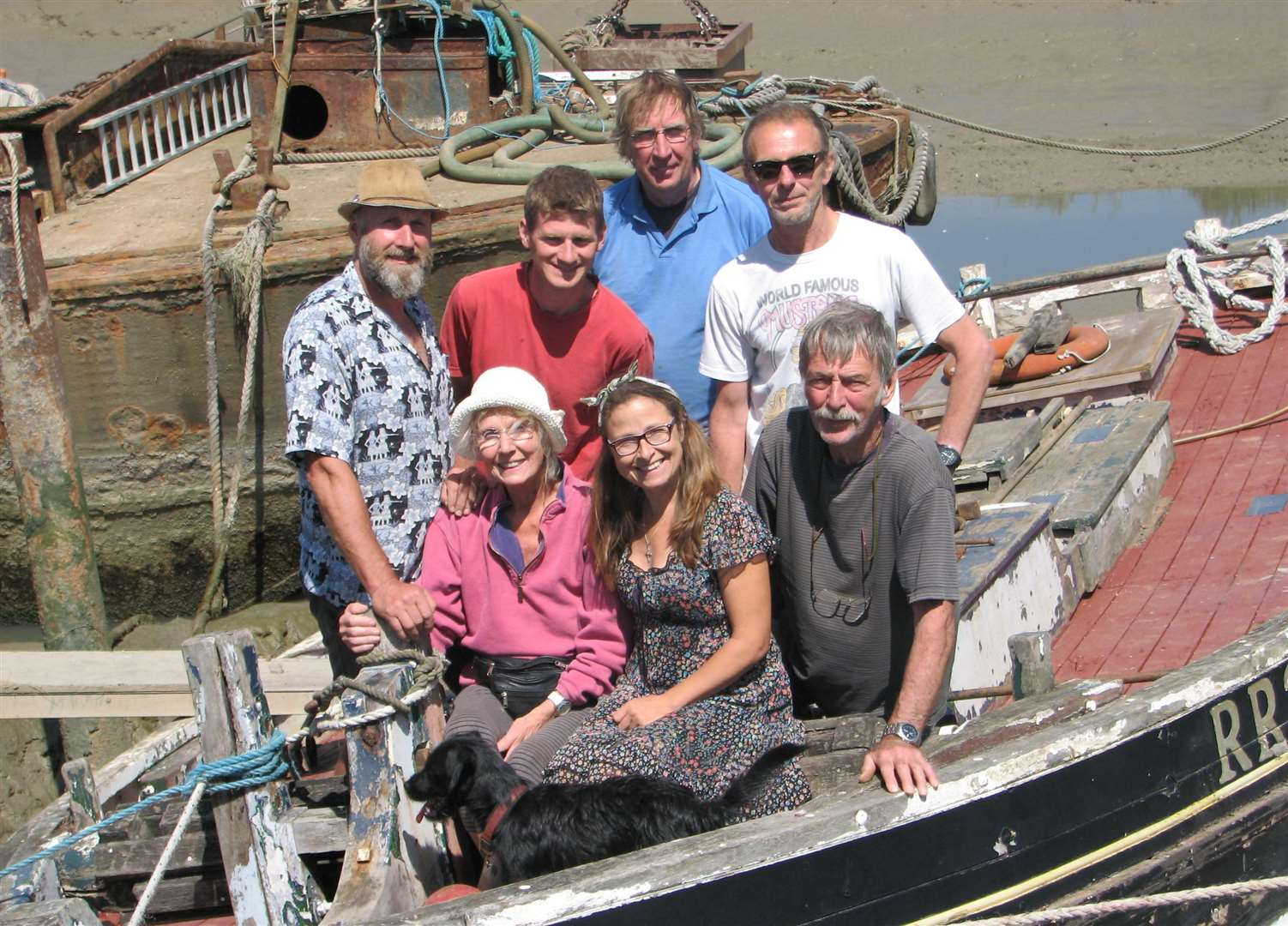 A save haven for Thistle at Faversham where she is being restored by (clockwise from top left) Ian Reekie, Morgan Lewis, Kerry McSwain, Andy Reeve, Bob Berk, Victoria Shorland and Lena Reekie