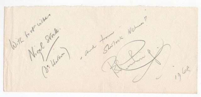 A rare joint autograph by Peter Cushing, right, and his Sherlock Holmes co-star Nigel Stock