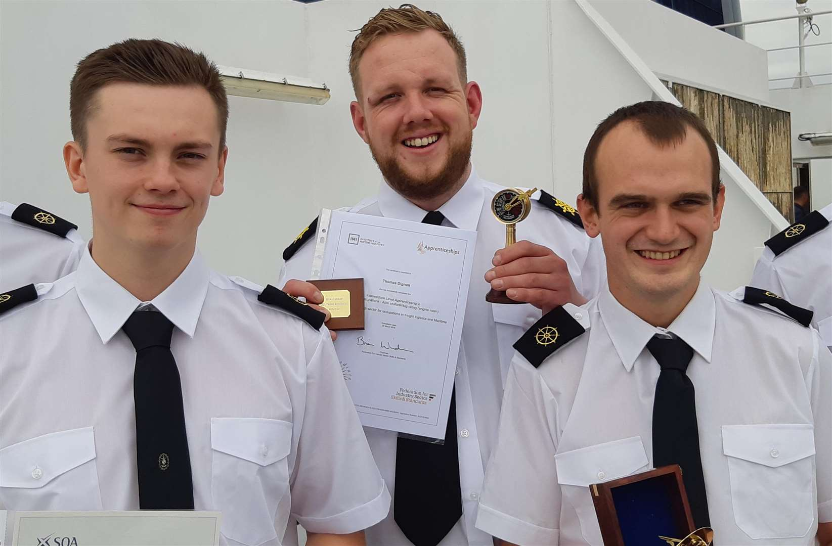 The successful apprentices with their awards.. From left, Oliver Williams, Thomas Dignan and Jack Wilmshurst