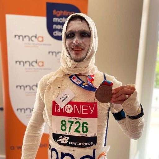 Andy raised almost £ 2,000 for MNDA Photo: Andy Roberts