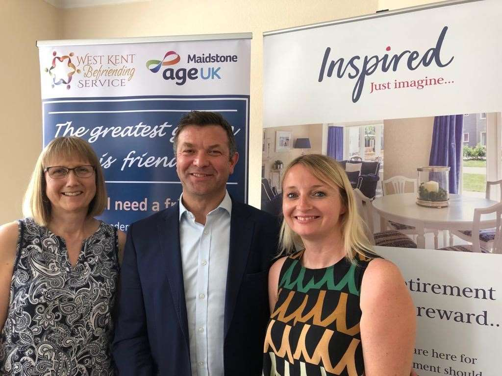Jamie Bunce from Inspired Villages, West Kent Befriending Service manager Wendy Pfeiffer (left) and Age UK Maidstone CEO Louise MacPherson (13587171)