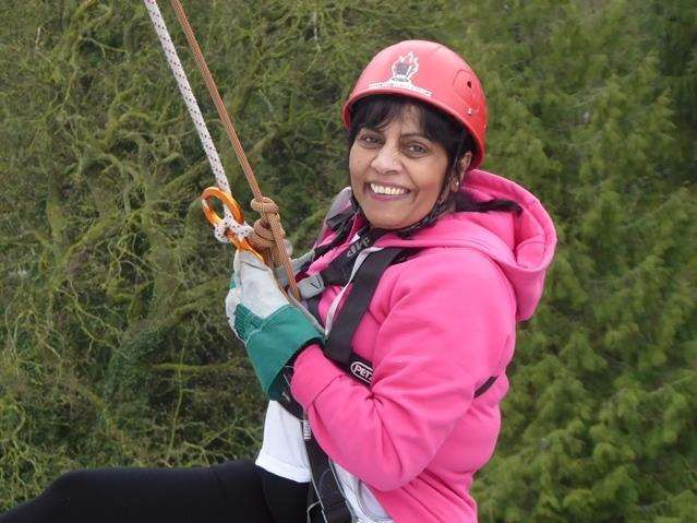 New Leaf Support trustee Hasmita Reardon taking part in the 2018 KM spring abseil challenge in Maidstone (4182299)