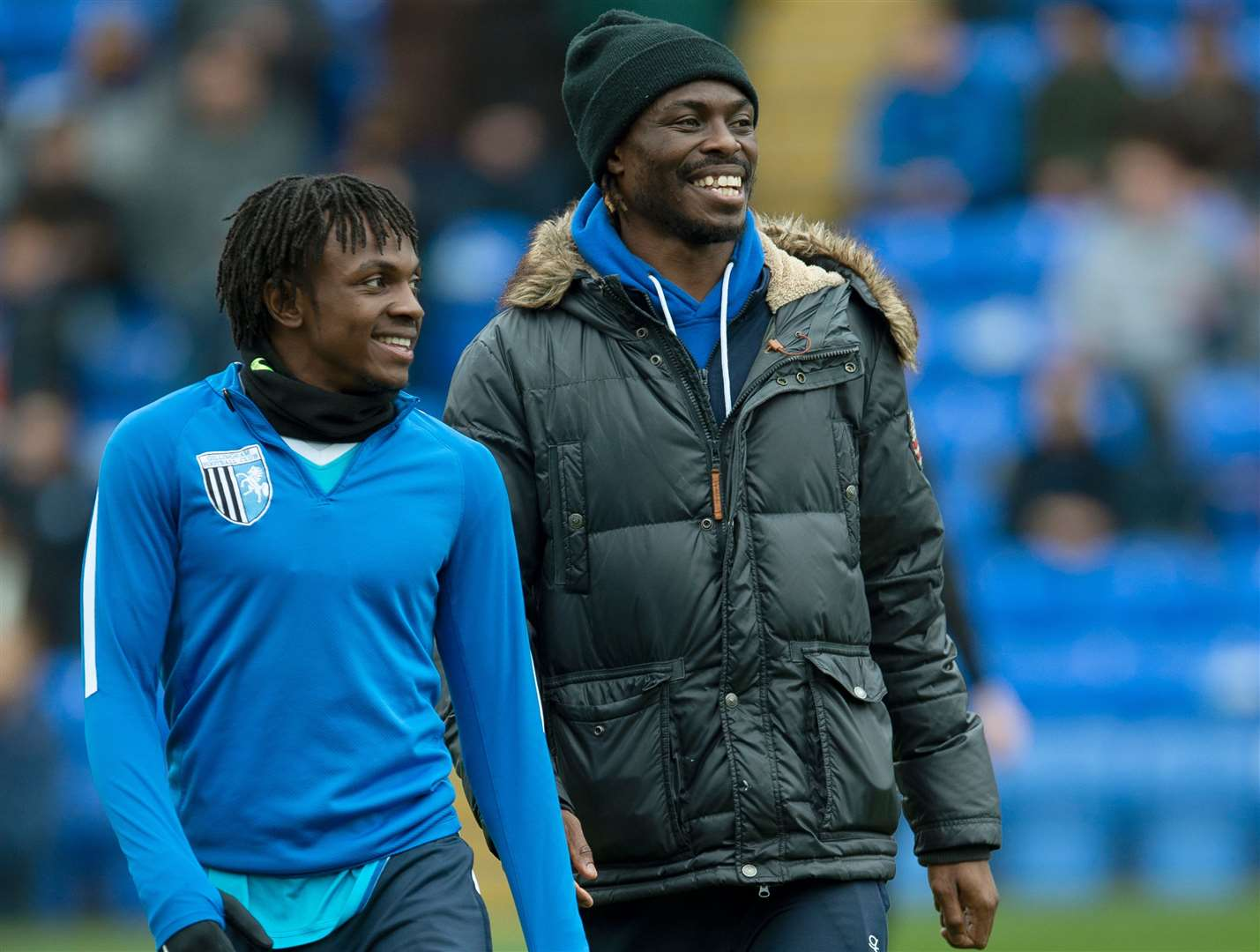 Gabriel Zakuani, right, at Peterborough vs Gillingham earlier this month