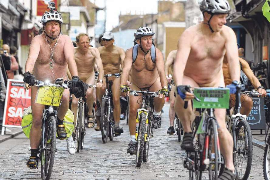 Naked cyclists ride through Canterbury