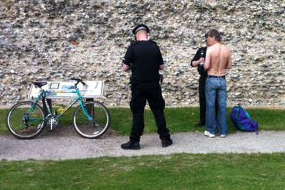 Police talk to one man about his behaviour