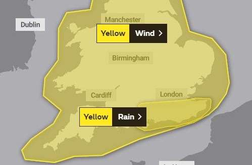 A weather warning for rain has been added to the previous forecast of high winds. Picture: Met Office