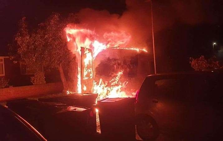 The van was found ablaze in the early hours of this morning. Photo: Joshua Roberts