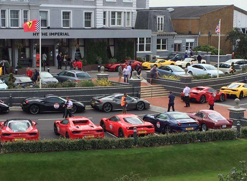 Dozens of Ferrari cars have turned up at the Hythe Imperial. Picture: Rena Piller