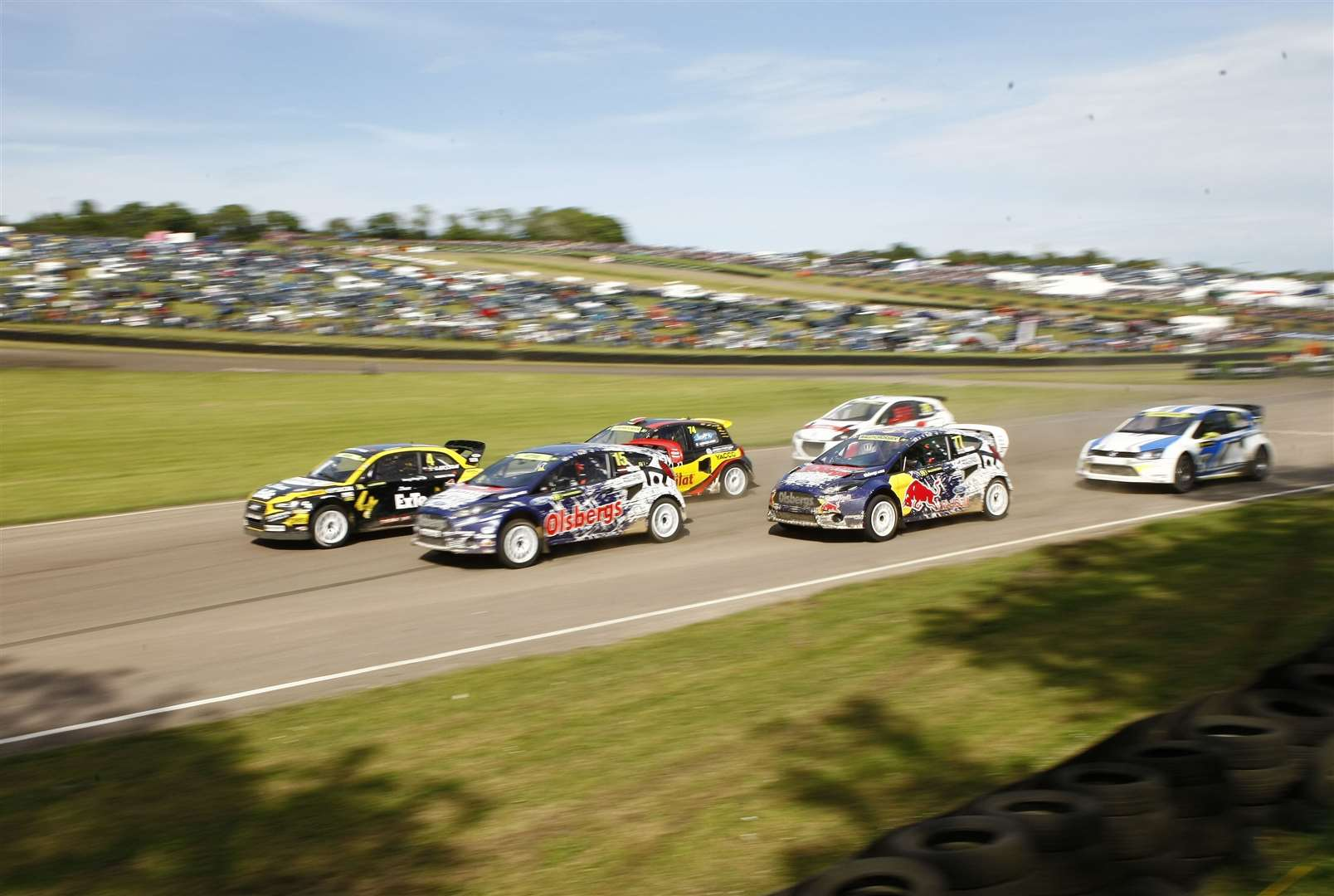 The start of the second semi final at Lydden Hill's FIA World Rallycross Championship round in May 2014, with Audi star Robin Larsson leading the pack. Picture: Matt Bristow