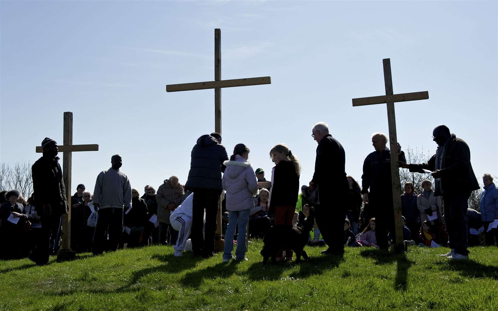 The crosses are raised on Bunny Bank at the Annual Churches Together in Sheppey Procession of Witness in 2012