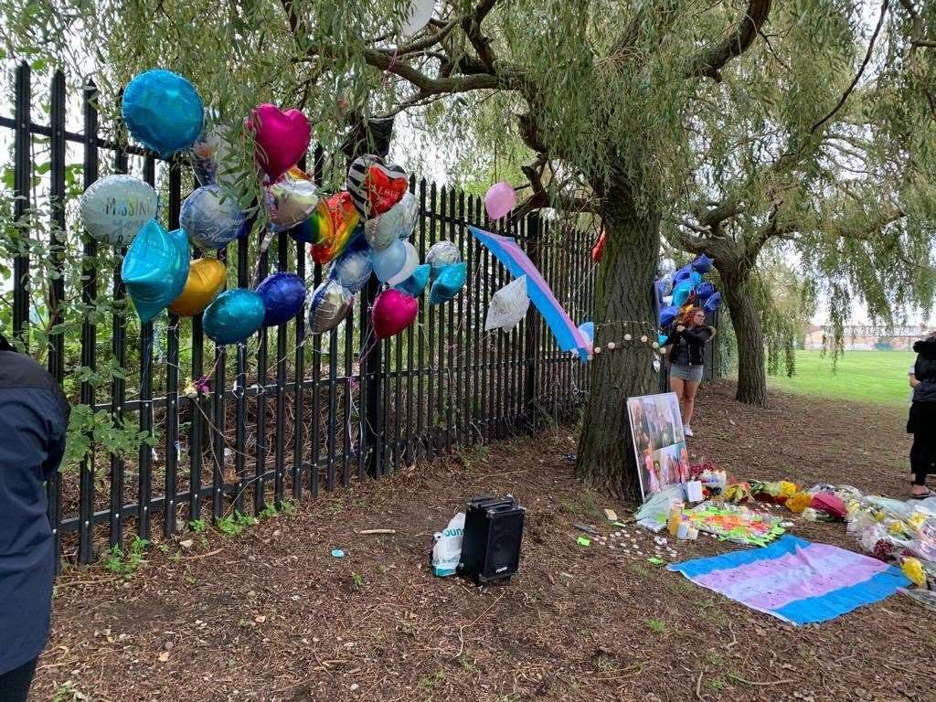Balloons tied to a fence for Ellis Murphy-Richards at New Road playing fields