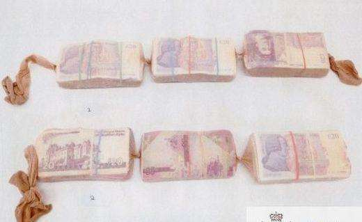 Cash concealed in the tights. Picture: Kent Police